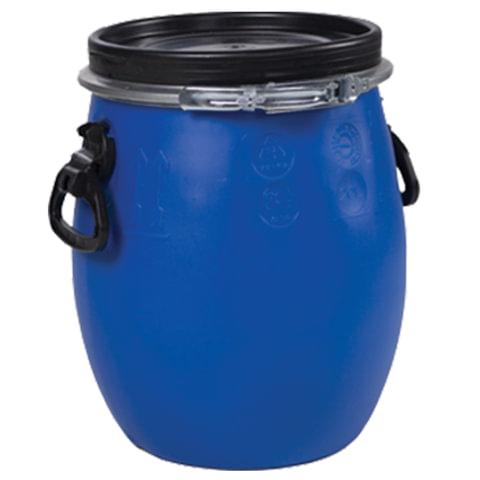 Бочка 20 л, OpenTop, полиэтилен (ПЭНД), крышка с хомутом, диаметр 253 мм, для пищевых и химических продуктов