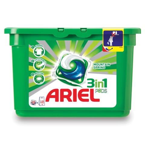 """Стиральный порошок-автомат капсулы ARIEL (Ариэль), 15 шт. по 28,8 г, """"Горный родник"""""""