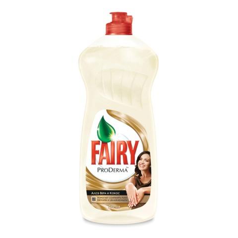 Средство для мытья посуды FAIRY ProDerma (Фейри для чувствительной кожи), 750 мл, «Алоэ вера и кокос»