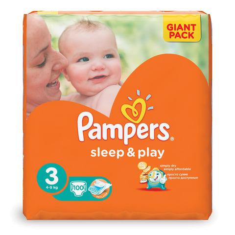 Подгузники 100 шт., PAMPERS (Памперс) «Sleep&Play», размер 3 (4-9 кг)