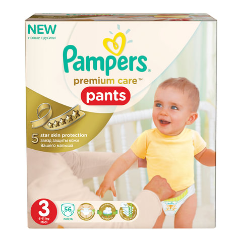 Подгузники-трусики PAMPERS (Памперс) Premium Care Pants, размер 3 (6-11 кг), 56 шт.