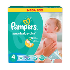 Подгузники 132 шт., PAMPERS (Памперс) «Active Baby», размер 4 (7-14 кг)