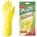 Перчатки хозяйственные резиновые PACLAN «Universal», с х/<wbr/>б напылением, размер S (малый), желтые