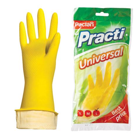 """Перчатки хозяйственные резиновые PACLAN """"Universal"""", с х/б напылением, размер L (большой), желтые"""