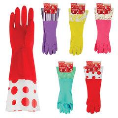 Перчатки хозяйственные резиновые с манжетами PACLAN, с х/<wbr/>б напылением, размер M (средний), цвет ассорти