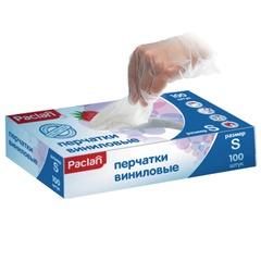Перчатки виниловые, 50 пар (100 штук), без х/<wbr/>б напыления, размер S (малый), PACLAN