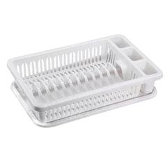 Сушилка для посуды и приборов, 15 секций, комплект с поддоном, 8×29×42 см, цвет мраморный/<wbr/>белый, IDEA