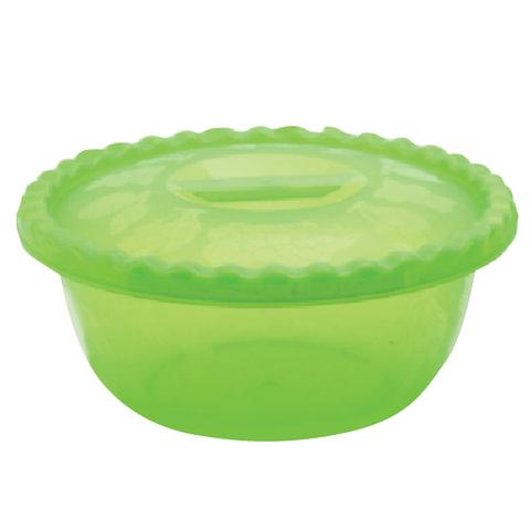 Миска-салатник 3 л, с крышкой, приготовление и хранение, универсальная, высота 13см, диаметр 29 см, цвет салатовый, IDEA