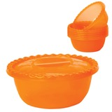 Миска-салатник 3 л, с крышкой + 6 салатников по 0,6 л, универсальная, высота 10 см, диаметр 25 см, оранжевая, IDEA