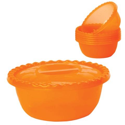 Миска-салатник 3 л с крышкой, IDEA, высота 10,5 см, диаметр 25 см, + 6 салатников по 0,6 л, цвет оранжевый