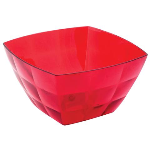 Миска-салатник 2 л, «Квадро кристалл», приготовление, 12×19×19 см, красная, прозрачная, IDEA