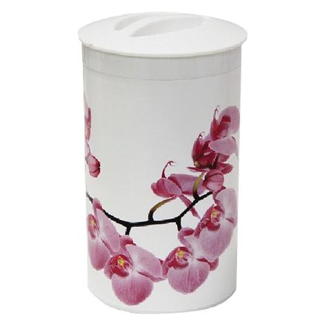 Контейнер 1л, с крышкой, колба, для сыпучих продуктов, «Орхидея», высота 18 см, диаметр 10 см, белый, IDEA