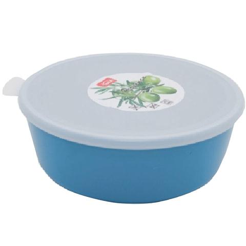 """Миска-салатник 1 л, с крышкой, герметичная, хранение и СВЧ, """"Прованс"""", высота 7 см, диаметр 17 см, бирюзовая, IDEA"""