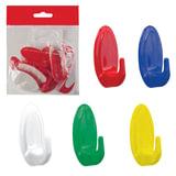 Крючки самоклеящиеся, комплект 10 шт., пластиковые, цвет ассорти, IDEA