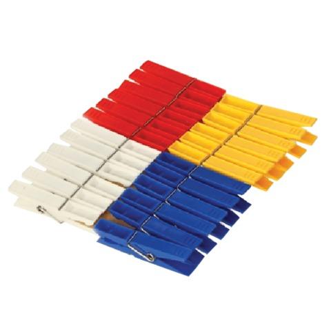 Прищепки бельевые IDEA, комплект 24 шт., универсальные, пластиковые, цвет ассорти