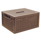 Ящик 6,3 л, с крышкой, для хранения, универсальный, 12×28×18 см, коричневый, «Ротанг», IDEA