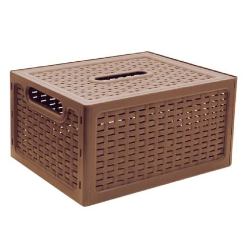 Ящик 17 л, с крышкой, для хранения, универсальный, «Ротанг», 19×37×28 см, бежевый, IDEA