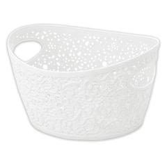 Корзинка для хранения универсальная «Кружево», пластиковая, 13×23×18 см, цвет белый, IDEA