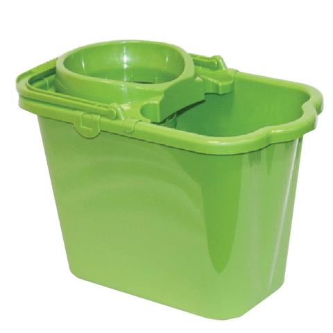Ведро 9,5 л, с отжимом (сетчатый), пластиковое, цвет зеленый, (моп 602584, -585), IDEA