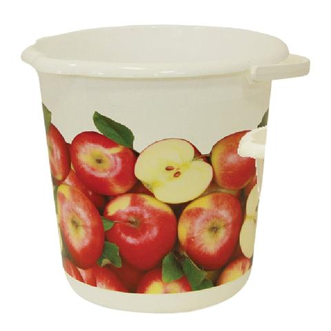 """Ведро 10 л, без крышки, """"Яблоки"""", пластиковое, пищевое, цвет белый с рисунком, IDEA"""