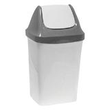 Ведро-контейнер 15 л для мусора IDEA «Свинг», качающаяся крышка, 47×27×23 см, серый мрамор