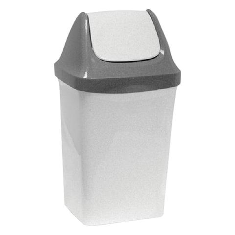 Ведро-контейнер 15 л, с крышкой (качающейся), для мусора,«Свинг», 47×27×23 см, серое, IDEA
