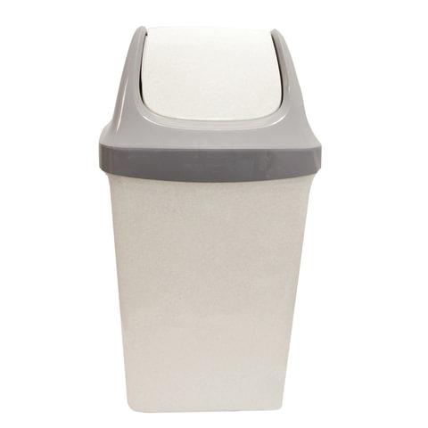 """Ведро-контейнер 25 л, с крышкой (качающейся), для мусора,""""Свинг"""", 58х32х28 см, серое, IDEA"""