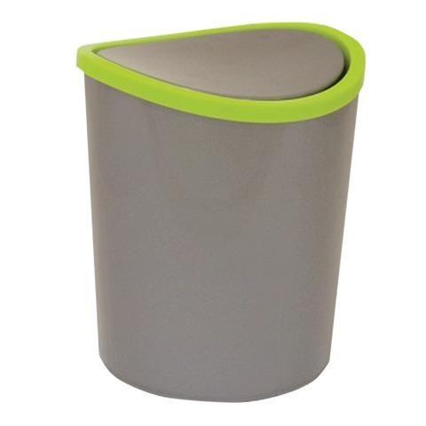Ведро-контейнер 1,6 л, с крышкой (качающейся), для мусора, настольное, высота 17 см, диаметр 13 см, серое, IDEA