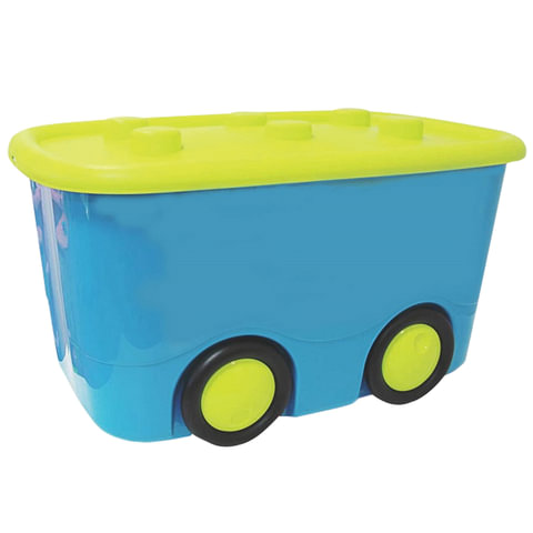 Ящик 25 л, с крышкой, для хранения, детский, на колесах, «Мобби», 41×32×60 см, бирюзовый, IDEA