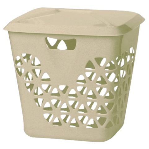 Корзина 45 л, с крышкой, для мусора/белья, прямоугольная, пластик, 43х37х47 см, бежевая, IDEA