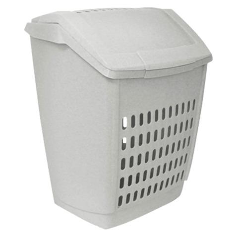 Корзина с крышкой 50 л для мусора и белья IDEA, пластиковая, 54×34×43 см, мраморная