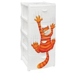 Комод универсальный «Рыжий кот», 4 секции, габариты в сборе, 96×40×50 см, белый, IDEA