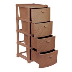 Комод универсальный 4 секции, габариты в сборе 96×40×50 см, коричневый, «Ротанг», IDEA