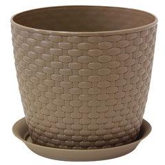 Кашпо для цветов 3 л, с поддоном, «Ротанг», высота 16 см, диаметр 18 см, коричневое, IDEA
