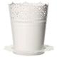Кашпо 2 л для цветов IDEA «Ажур», с поддоном, высота 18,5 см, диаметр 15 см, цвет белый
