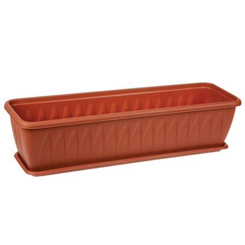 Кашпо-балконный ящик для цветов 10 л, с поддоном, «Алиция», 16×60×19 см, коричневое, IDEA