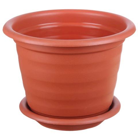 Кашпо 2 л для цветов IDEA «Ламела», с поддоном, высота 15 см, диаметр 17 см, цвет коричневый