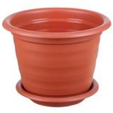 Кашпо 5 л для цветов IDEA «Ламела», с поддоном, высота 20 см, диаметр 25 см, цвет коричневый