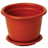 Кашпо 12 л для цветов IDEA «Ламела», с поддоном, высота 28 см, диаметр 33 см, цвет коричневый