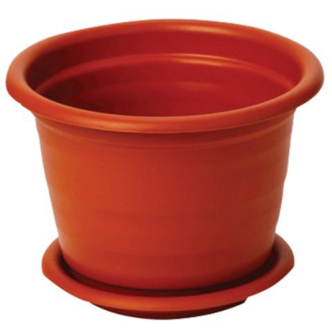 Кашпо для цветов 12 л, с поддоном, «Ламела», высота 28 см, диаметр 33 см, коричневое, IDEA