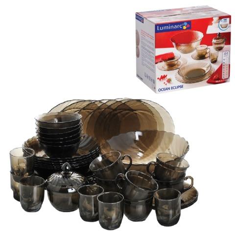 Набор посуды столовый LUMINARC «Ocean Eclipse», 45 предметов, тонированный, волнообразное стекло