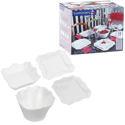 """Набор посуды столовый """"Authentic White"""", 19 предметов, белое стекло, LUMINARC"""