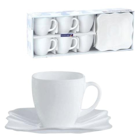 Набор посуды чайный LUMINARC «Authentic White», 6 кружек по 220 мл, 6 блюдец, белое стекло