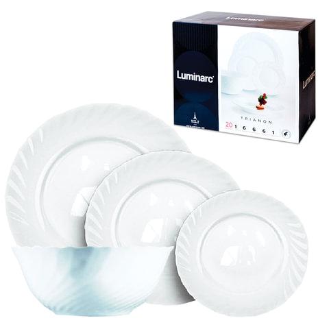 Набор посуды столовый LUMINARC «Trianon», 20 предметов, белое стекло