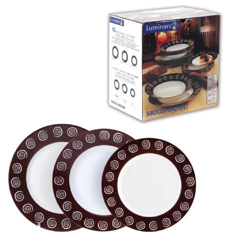 Набор посуды столовый LUMINARC «Sirocco Brown», 18 предметов, белое стекло, узор