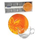 Набор посуды чайный LUMINARC «Lily Flower», 6 кружек по 220 мл, 6 блюдец, оранжевые узоры