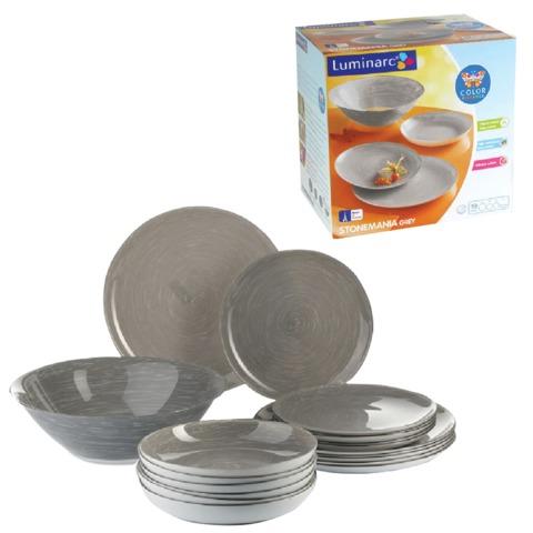 Набор посуды столовый «Stonemania Grey», 19 предметов, серый, LUMINARC