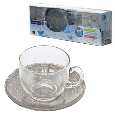 Набор посуды чайный LUMINARC «Stonemania Grey», 6 кружек по 220 мл, 6 блюдец, серый