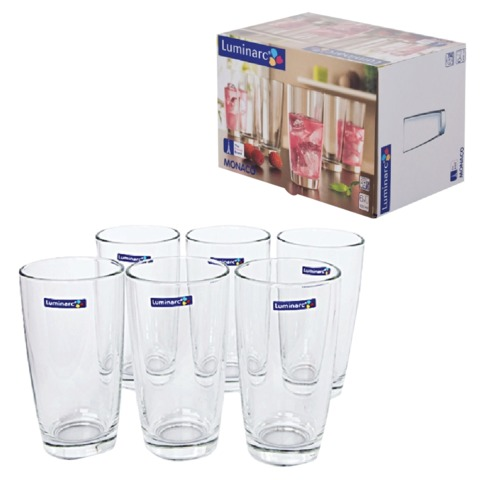 Набор посуды стаканы для сока, виски LUMINARC «Monaco», 6 шт., 300 мл, высокие, стекло