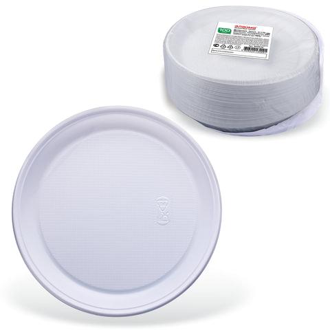 """Одноразовые тарелки """"Стандарт"""", десертные d=170 мм, комплект 100 шт., ЛАЙМА, белые, ПП, для холодного/горячего"""
